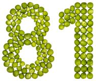 Arabic numeral 81, eighty one, from green peas, isolated on whit Royalty Free Stock Image