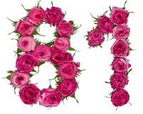 Arabic numeral 81, eighty one, from red flowers of rose, isolate Royalty Free Stock Photos