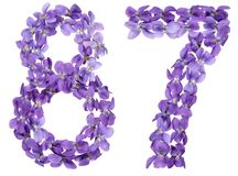 Arabic numeral 87, eighty seven, from flowers of viola, isolated. On white background Stock Photos