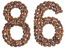 Arabic numeral 86, eighty six, from coffee beans, isolated on wh. Ite background Royalty Free Stock Photo