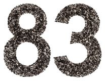 Arabic numeral 83, eighty three, from black a natural charcoal, Royalty Free Stock Photography