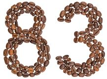 Arabic numeral 83, eighty three, from coffee beans, isolated on. White background Stock Photos