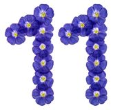 Arabic numeral 11, eleven, from blue flowers of flax, isolated o Stock Photos