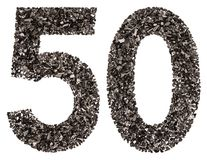 Arabic numeral 50, fifty, from black a natural charcoal, isolate Stock Photos