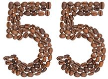 Arabic numeral 55, fifty five, from coffee beans, isolated on wh. Ite background Royalty Free Stock Image
