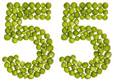 Arabic numeral 55, fifty five, from green peas, isolated on whit. E background Royalty Free Stock Photo