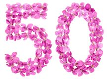 Arabic numeral 50, fifty, from flowers of viola, isolated on whi. Te background Stock Photography