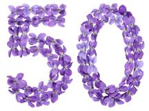 Arabic numeral 50, fifty, from flowers of viola, isolated on whi. Te background Royalty Free Stock Photo