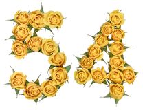 Arabic numeral 54, fifty four, from yellow flowers of rose, isolated on white background.  stock photography