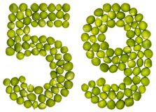 Arabic numeral 59, fifty nine, from green peas, isolated on whit. E background Royalty Free Stock Photo