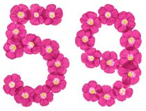 Arabic numeral 59, fifty nine, from pink flowers of flax, isolated on white background royalty free illustration