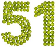 Arabic numeral 51, fifty one, from green peas, isolated on white. Background Stock Photography