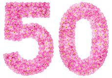 Arabic numeral 50, fifty, from pink forget-me-not flowers, isola. Ted on white background Stock Images