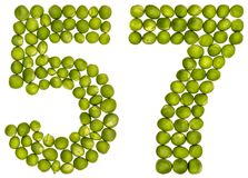 Arabic numeral 57, fifty seven, from green peas, isolated on whi. Te background Royalty Free Stock Photography
