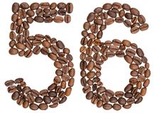 Arabic numeral 56, fifty six, from coffee beans, isolated on whi Royalty Free Stock Image