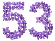 Arabic numeral 53, fifty three, from flowers of viola, isolated. On white background Royalty Free Stock Images