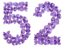 Arabic numeral 52, fifty two, from flowers of viola, isolated on. White background Royalty Free Stock Photos