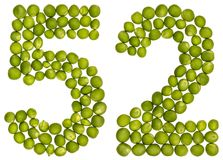 Arabic numeral 52, fifty two, from green peas, isolated on white. Background Stock Photo