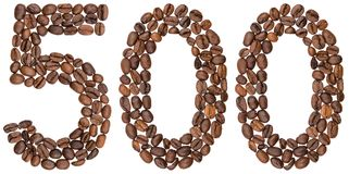 Arabic numeral 500, five hundred, from coffee beans, isolated on. White background Stock Photo