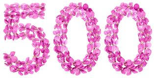 Arabic numeral 500, five hundred, from flowers of viola, isolate. D on white background Stock Photos