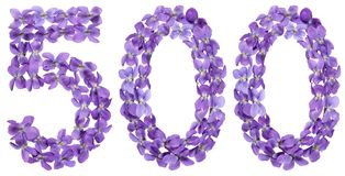 Arabic numeral 500, five hundred, from flowers of viola, isolate Stock Images