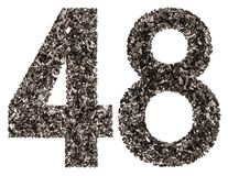 Arabic numeral 48, forty eight, from black a natural charcoal, i Royalty Free Stock Photos