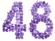 Arabic numeral 48, forty eight, from flowers of viola, isolated. On white background Royalty Free Stock Photos