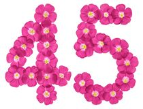 Arabic numeral 45, forty five, from pink flowers of flax, isolated on white background.  royalty free stock photography