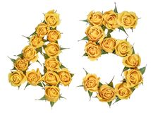 Arabic numeral 45, forty five, from yellow flowers of rose, isolated on white background.  royalty free stock images
