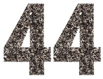 Arabic numeral 44, forty four, from black a natural charcoal, is Stock Photo