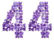 Arabic numeral 44, forty four, from flowers of viola, isolated o. N white background Royalty Free Stock Photo