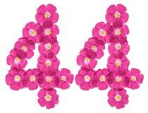 Arabic numeral 44, forty four, from pink flowers of flax, isolated on white background stock illustration