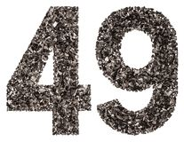 Arabic numeral 49, forty nine, from black a natural charcoal, is Stock Photo