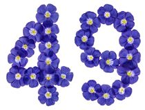 Arabic numeral 49, forty nine, from blue flowers of flax, isolat. Ed on white background Royalty Free Stock Photo
