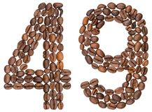 Arabic numeral 49, forty nine, from coffee beans, isolated on wh. Ite background Stock Images