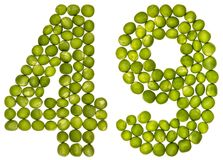Arabic numeral 49, forty nine, from green peas, isolated on whit. E background Stock Photography