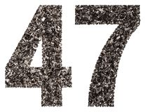 Arabic numeral 47, forty seven, from black a natural charcoal, i Royalty Free Stock Photo