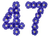 Arabic numeral 47, forty seven, from blue flowers of flax, isola. Ted on white background Royalty Free Stock Photo