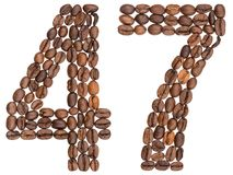 Arabic numeral 47, forty seven, from coffee beans, isolated on w. Hite background Stock Photography