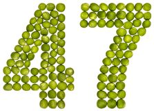 Arabic numeral 47, forty seven, from green peas, isolated on whi. Te background Stock Images
