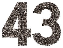 Arabic numeral 43, forty three, from black a natural charcoal, i Royalty Free Stock Photography