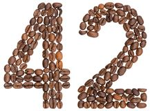 Arabic numeral 42, forty two, from coffee beans, isolated on white background royalty free stock image
