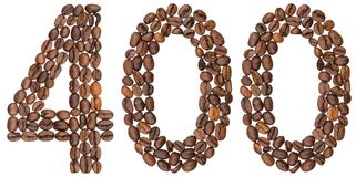 Arabic numeral 400, four hundred, from coffee beans, isolated on. White background Stock Photo