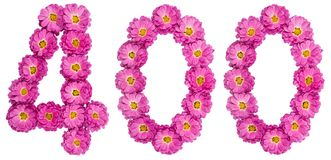 Arabic numeral 400, four hundred, from flowers of chrysanthemum,. Isolated on white background Royalty Free Stock Images
