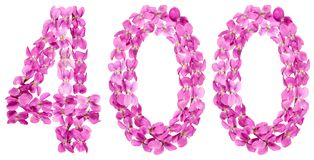 Arabic numeral 400, four hundred, from flowers of viola, isolate. D on white background Royalty Free Stock Photography