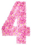 Arabic numeral 4, four, from pink forget-me-not flowers, isolate. D on white background Stock Image
