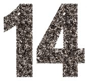 Arabic numeral 14, fourteen, from black a natural charcoal, isol. Ated on white background Stock Photography