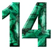 Arabic numeral 14, fourteen, from natural green malachite, isolated on white background stock illustration