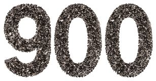 Arabic numeral 900, nine hundred, from black a natural charcoal, Royalty Free Stock Image