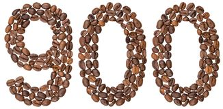 Arabic numeral 900, nine hundred, from coffee beans, isolated on. White background Stock Photography